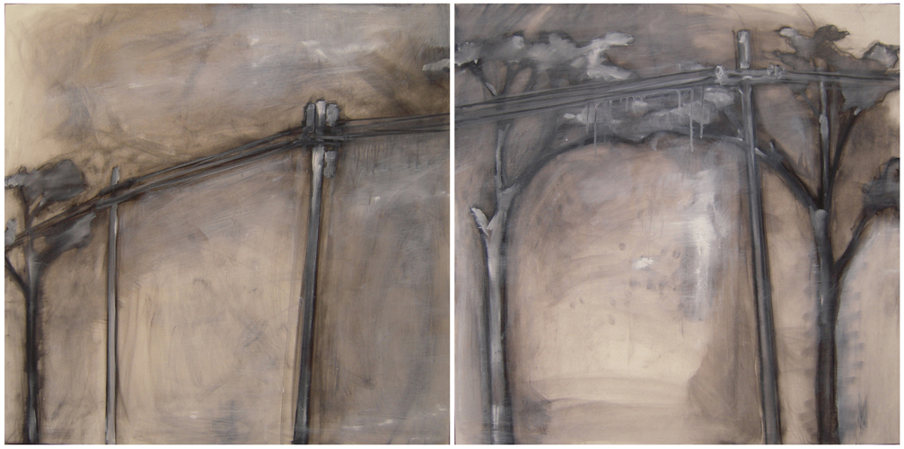 Snowplow diptych oil/charcoal on panel 2007 each panel 24x24 sold