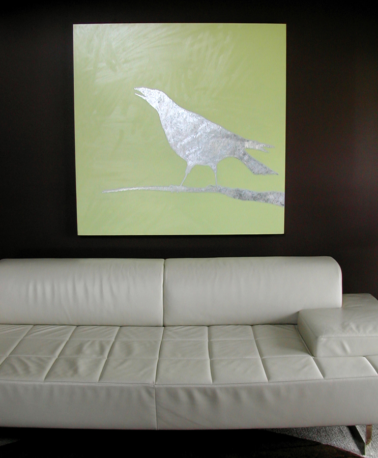 Corvus oil and leaf on panel 2006 46x46 sold shown installed in collectors home
