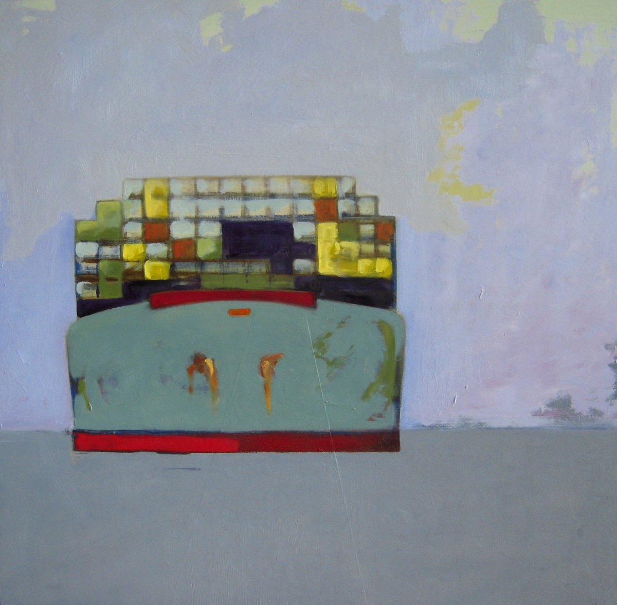 Container Ship oil on panel 2009 30x30 sold