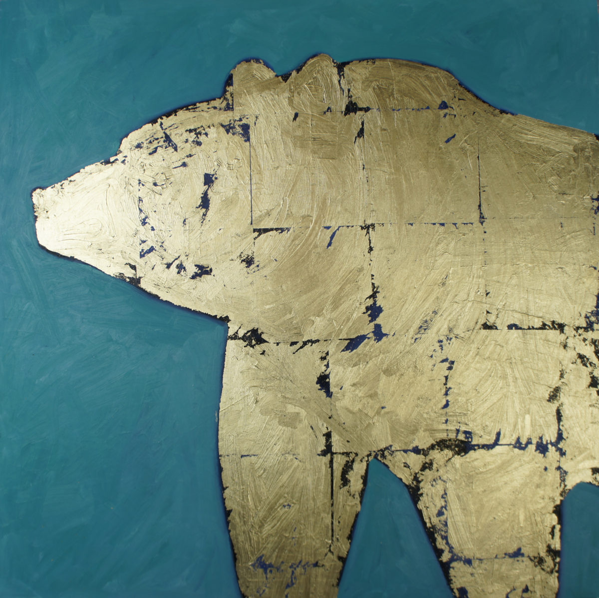 Bear oil and metal leaf on panel 2012 30x30 sold